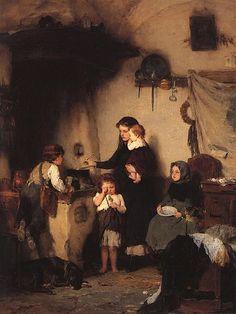 Nikolaos Gyzis ~ The Orphans ~ Greek Painter Charles Edward, Greek Paintings, Art Paintings, Street Art, Art Ancien, Social Art, Art Database, Chiaroscuro, Gravure
