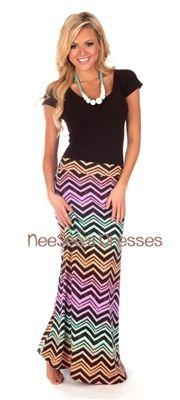 Trendy and modest maxi skirt features fading pastel chevron print design. Modest Maxi Dress, Modest Skirts, Modest Outfits, Modest Fashion, Skirt Fashion, Fashion Outfits, Modest Clothing, Maxi Dresses, Apostolic Clothing