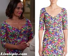 La Petite Robe Ruched Floral Sheath Dress worn by Judy Reyes on Devious Maids Clothes Fashion Wardrobe Outfits