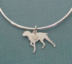 #German #Shorthaired #Pointer #Dog Bangle Bracelet, Sterling Silver Personalize Pendant, Breed Silhouette Charm, Rescue Shelter, Memorial Gift by DiBAdog on Etsy