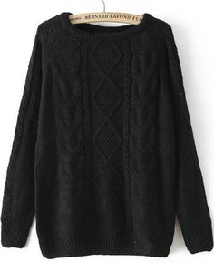Black Long Sleeve Cable Knit Loose Sweater — 0.00 € -------------color: Black size: one-size