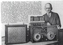 Fritz Pfleumer, with his magnetic tape machine (1931)-Magnetophon recorders were widely used in German radio broadcasts during World War II, although they were a closely guarded secret at the time.