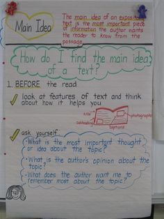 A lot of main idea anchor charts!