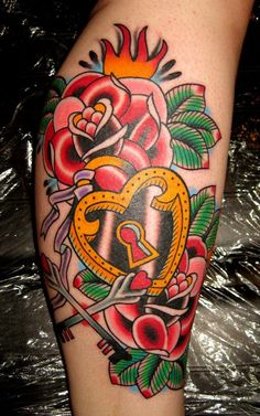 Rose & Heart Lock Tattoo