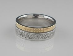 Trinity Knot Wedding Ring with Ogham Rail Edge Made in Ireland by Boru - Faith Collection