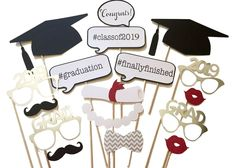 Set of Fun 2017 Graduation Photo Booth Props DIY Kits Photobooth Graduation Party Decoration Game Favor Gifts Graduation Party Supplies, Graduation Celebration, Graduation Decorations, Graduation Photos, Graduation Ideas, Photo Booth Props Graduation, Prom Photo Booth, Graduation Centerpiece, Graduation Theme