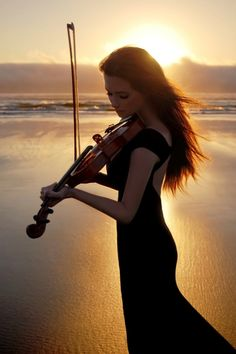 Lady with Violin, Sunset Beach, Sophisticated and Feminine