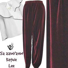 4f2d4aeac25 Details about Plus Size Velour Dress Pants Sz 22W 24W Kathie Lee Elegant  Maroon Stretch Slacks