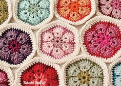 Flores africanas con tutorial en http://heidibearscreative.blogspot.de/2010/05/african-flower-hexagon-crochet-tutorial.html