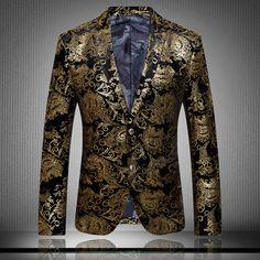 2015 Luxury Brand Gold Suits Men Velvet Jacket Slim Baroque Wedding Dress Mens Paisley Blazer Stage Suit Jacket Chaquetas Hombre