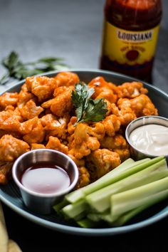 """A healthier take on everybody's favorite appetizer, this """"wings"""" recipe incorporates delicious and good-for-you cauliflower instead of chicken."""