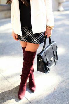 Express skirt, blazer, blouse c/o // L.K. Bennett boots c/o (also love the shorter version) GiGi New York purse