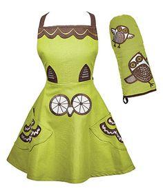 Look what I found on #zulily! Owl Apron & Oven Mitt by Kitsch'n Glam #zulilyfinds
