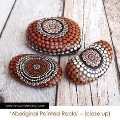 Set of 3 Painted Rocks, Aboriginal Dot Art, Painted stone, Acrylic Painting, ornaments or paper weights, rich earthy browns on Etsy, $46.52