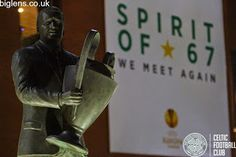 Jock Stein Statue in front of Celtic Park ahead of Celtic's European clash with Inter Milan.