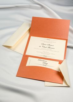 Flame Orange Horizon Pocket Folder with Cream invitations and RSVP cards and envelopes. These are the perfect invites for Fall  #diyinvitation #weddingprintables #weddinginvitations #diyinvite #partyinvites #invitationcard #alittleidea