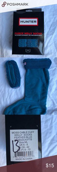 HUNTER Boot Socks Feather Blue knit top Fleece leg and foot M/L size 8-10 Hunter Accessories Hosiery & Socks