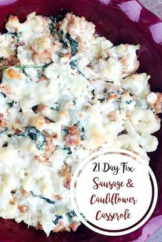 21 Day Fix Sausage and Cauliflower Casserole   Confessions of a Fit Foodie 21 Day Fix Diet, 21 Day Fix Meal Plan, Clean Eating Recipes, Healthy Dinner Recipes, Healthy Eating, Vegan Recipes, 21dayfix Recipes, Bratwurst, Keto Cauliflower Casserole