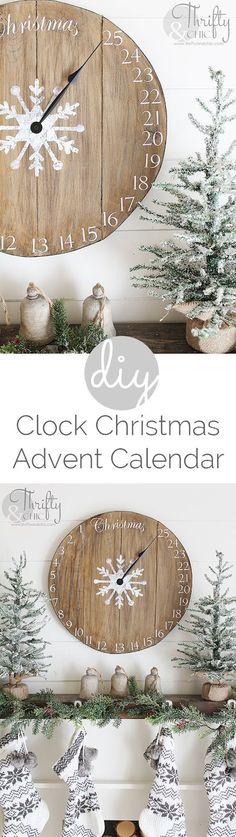 DIY wood clock Christmas advent calendar! Great rustic farmhouse Christmas decor!