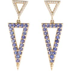 Andy G�tz 14k Tanzanite and Diamond Earrings ($745) ❤ liked on Polyvore featuring jewelry, earrings, purple drop earrings, triangle drop earrings, earrings jewelry, tanzanite earrings and diamond earrings