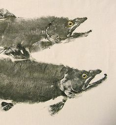 Two Brown Trout, male and female, Original GYOTAKU Fish Art Rubbings on natural muslin