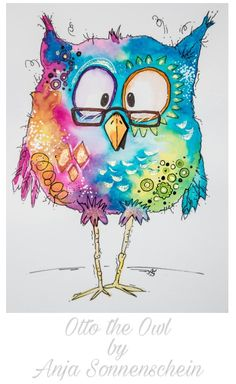 Otto the OWL by Anja Sonnenschein inspiriert von Clarissa H. - Otto the OWL by Anja Sonnenschein inspiriert von Clarissa Hagenmeyer - Bird Doodle, Doodle Art, Doodle Ideas, Owl Watercolor, Watercolor Paintings, Watercolor Pencils, Owl Art, Bird Art, Art Journal Pages