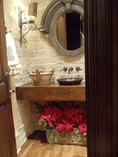 Floating vanity with flowers. Rustic. Restoration mirror.