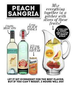 *Can use Peach Schnaps too or as a subsitute* A refreshing Peach Sangria, summer can't get any better than this! Party Drinks, Cocktail Drinks, Fun Drinks, Peach Sangria Recipes, Margarita Recipes, Olive Garden Peach Sangria Recipe, Peach Sangria Moscato, Best White Sangria Recipe, White Peach Sangria