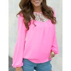 Ladylike Round Collar Long Sleeve Lace Splicing See-Through Women's Blouse