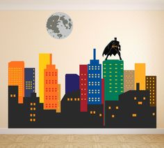 Fabric wall Decal  City Skyline  - Super Hero  wall Decal - Gotham City wall Decal - Bat  Wall Decal Sticker Peel and Stick, Repositionable by DecalStyles on Etsy https://www.etsy.com/listing/400408125/fabric-wall-decal-city-skyline-super