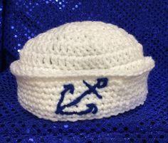 Baby sailor hat photo prop hat hand crochet by Yarnhotoffthehook
