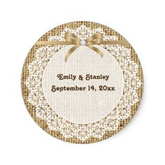White doily, lace and burlap wedding Save the Date Sticker