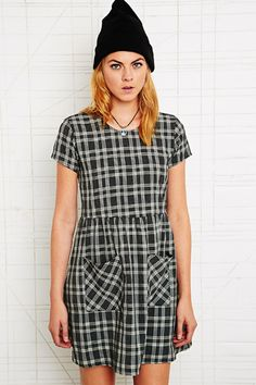 O Plaid Babydoll Dress at Urban Outfitters