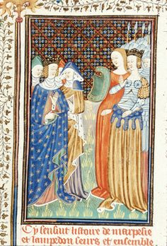BL Royal 16 G V f.14 - Marpesia and Lampeto, queens of the Amazons, with armed attendants and a shield bearer. [De claris mulieribus in an anonymous French translation (Le livre de femmes nobles et renomées) - G. Boccaccio - 1440] [http://en.wikipedia.org/wiki/De_mulieribus_claris]