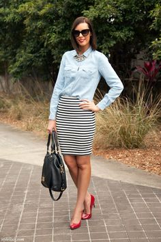 One Stripe Black and White Pencil Skirt Chambray Button Down Shirt Prada Sunglasses Red Patent Heels Marc Jacobs Handbag LOFT by Giuliana Ra...