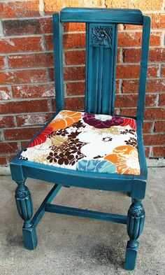 Some vintage chairs just aren't that attractive. With a painted finish and a new fabric seat, they get new life.