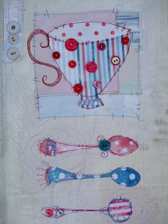 I really love the free motion quilting that isn't so precise on here, gives it a lovely touch.  Everything stops for tea!   Flickr - Photo Sharing!