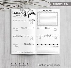 Printable weekly planner Midori weekly planner for the Bullet Journal. The post Printable Bullet Journal Weekly inserts, Midori Weekly Planner, Printable Midori Traveler& Notebook weekly planner inserts, PDF file appeared first on Trendy. Bullet Journal Agenda, Bullet Journal Spread, Bullet Journal Ideas Pages, Bullet Journal Inspiration, Journal Pages, Journal Art, Bullet Journals, Bullet Journal Weekly Layout, Bullet Journal Format