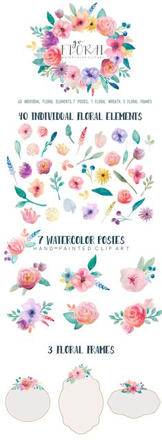 Go Floral! watercolor clip art set floral flowers pink green orange handpainted feminine girly wreath by The little cloud on Creative Market