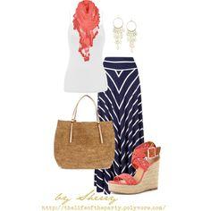 chevron skirt outfit, fashion, springsumm, cloth, dress, navi, closet, coral navy, summer outfit ideas coral