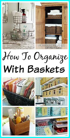 10 Ways to Organize with Baskets - what better way to organize than with something simple, pretty and inexpensive, like baskets! Home organizing ideas| how to be organized| decorating with baskets| organization