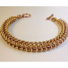 Copper Brass Bracelet,  Two Colour Chainmaille,  Mens Chain Mail Jewelry, Mixed Metal Cuff, Musicians Gift, Brass Band,  Dads Gift, Musical