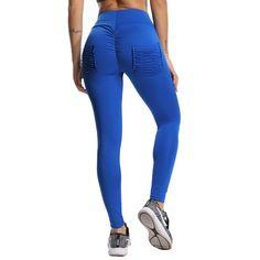 POCKET SCRUNCH Leggings~ SCRUNCH n MUNCH*  Stretchy & Slimming Trendy Fitness Design - Blue / XL / United States