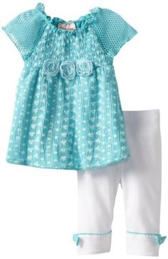 Baby girl clothes#Little Lass Baby-Girls Infant 2 Piece Capri Set with Roses