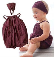 Summer 2018 Hot sale newborn baby girl clothes sleeveless baby rompers + headbands baby girl clothing set infant clothes