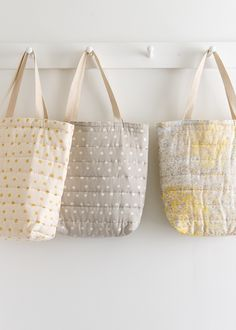 Handmade Clothes, Handmade Bags, Quilted Tote Bags, Purl Soho, Textiles, Fabric Bags, Market Bag, Reusable Bags, Purses And Bags