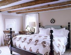 Benjamin Moore 'Shaker Beige': Hamptons cottage bedroom + vintage four-poster | Flickr - Photo Sharing!