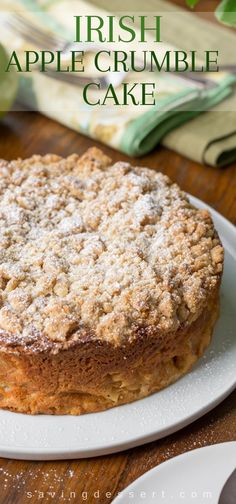 Irish Apple Crumble Cake with Apple Brandy Sauce ~ Made with apples, cinnamon and a sweet crumble top, this rustic, moist cake is homey and delightful especially when drizzled with Apple Brandy Sauce! Brunch Cake, Breakfast Cake, Irish Breakfast, Food Cakes, Cupcake Cakes, Cupcakes, Apple Dessert Recipes, Baking Recipes, Cookie Recipes