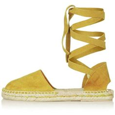 TopShop Kanga Ankle Tie Espadrilles ($74) ❤ liked on Polyvore featuring shoes, sandals, leather ankle strap sandals, pointed ankle strap flats, pointed flat shoes, ankle tie sandals and flat shoes