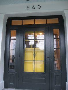 Trendy black front door with sidelights curb appeal house numbers Check more. Black Front Doors, Storm Door, Room Door Decorations, House, Front Door, Yellow Front Doors, House Numbers, House Exterior, Glass Front Door